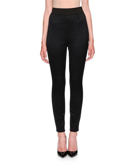 Dolce & Gabbana Elastic Waistband Jacquard Leggings