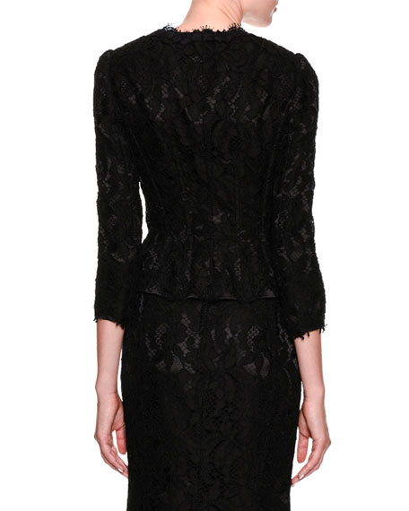 Dolce & Gabbana Long-Sleeve Button-Front Lace Jacket