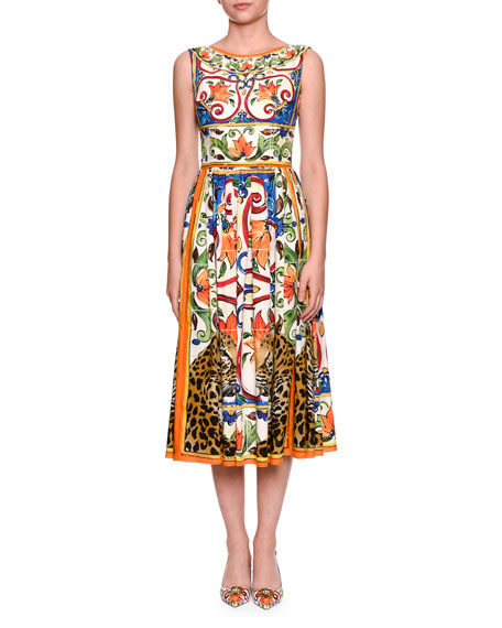 Dolce & Gabbana Maiolica Tile-Print Boat-Neck Midi Dress