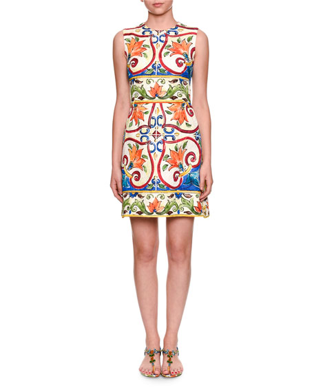 Maiolica Tile-Print A-Line Dress