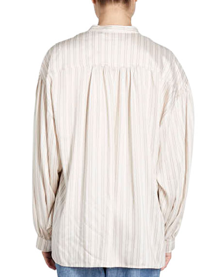 Ilda Striped Silk Satin Blouson Tunic