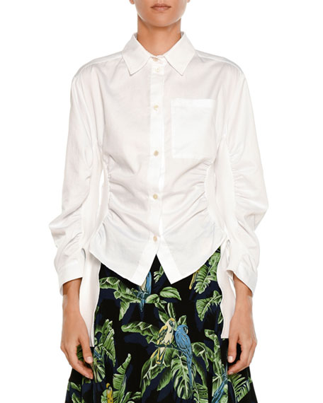 Button-Front Side-Ruched Cotton Shirting Blouse