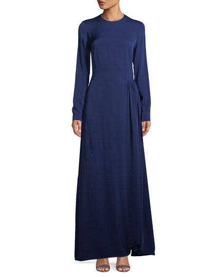 Stella McCartney Long-Sleeve Side-Pleat Jersey Gown