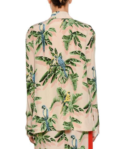 Birds of Paradise Print Long-Sleeve Silk Shirt w Solid Stripe