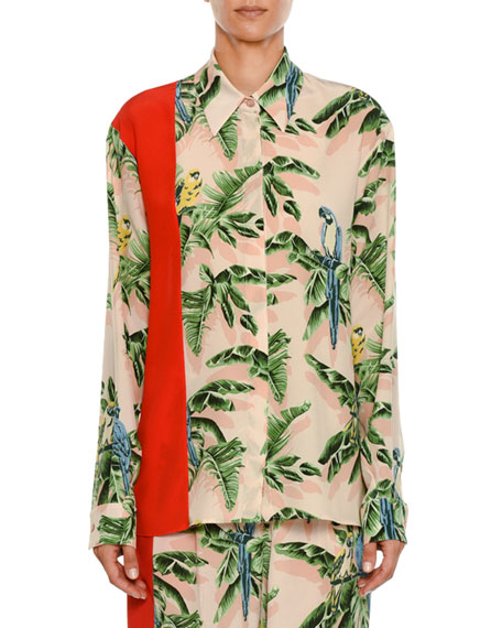 Stella McCartney Birds of Paradise Print Long-Sleeve Silk