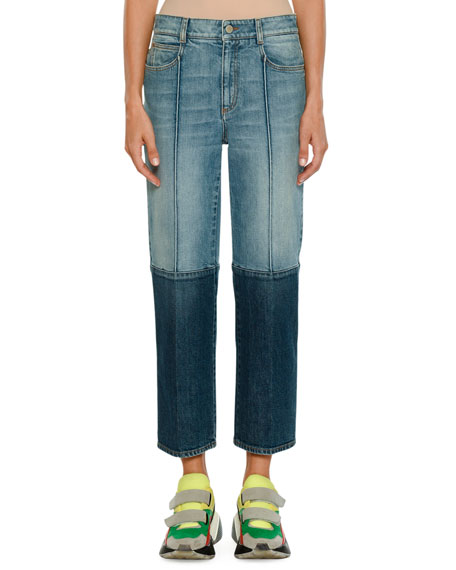 Stella McCartney Straight-Leg Cropped Two-Tone Denim Jeans and