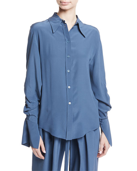 Drawstring-Back Button-Front Silk Blouse
