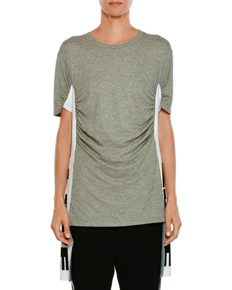 Crewneck Short-Sleeve Heathered T-Shirt w/ Love Side Panel