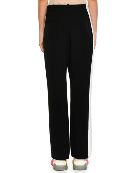 Wide-Leg Side-Stripe Stretch-Cady Pants
