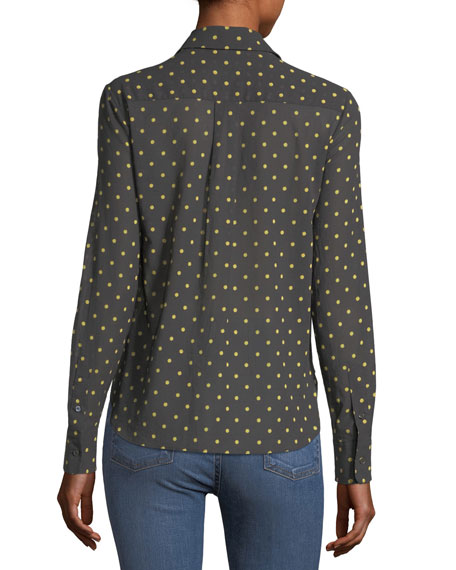 Baylee Long-Sleeve Button-Front Dot-Print Voile Shirt