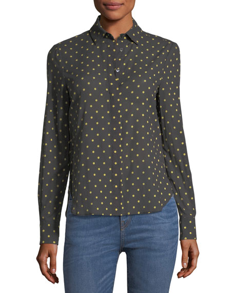 Brock Collection Baylee Long-Sleeve Button-Front Dot-Print Voile