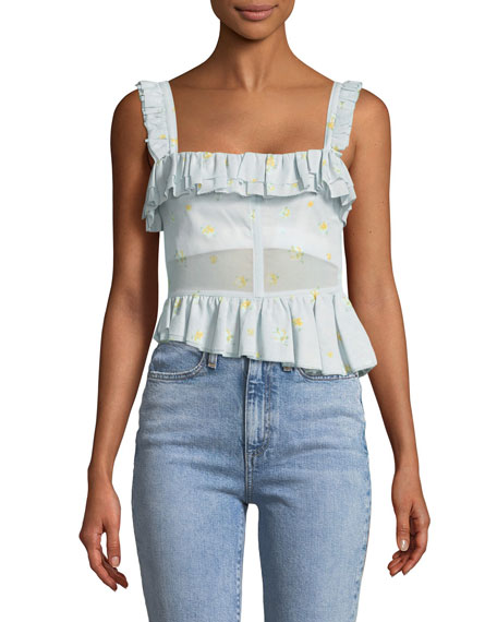 Brock Collection Tegan Geranium-Print Ruffled Corset Tank with