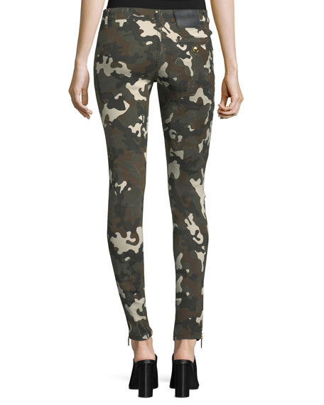 Camo-Print Denim Pants with Military Buttons