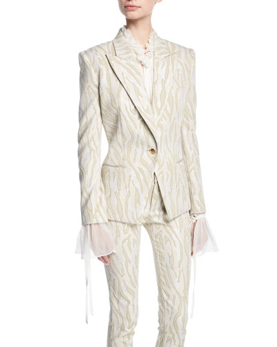 Zebra Jacquard One-Button Jacket