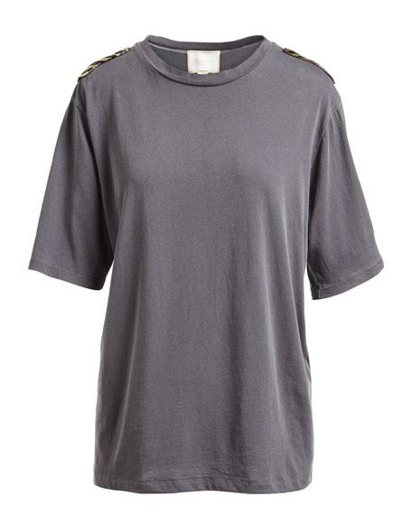 Crewneck Half-Sleeve Cotton T-Shirt