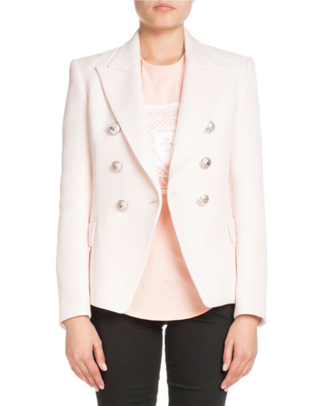 Classic Double Breasted Woven Blazer by Neiman Marcus