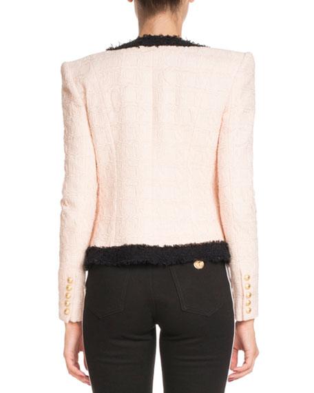 Four-Pocket Long-Sleeve Bicolor Tweed Jacket with Brooch Embellishment
