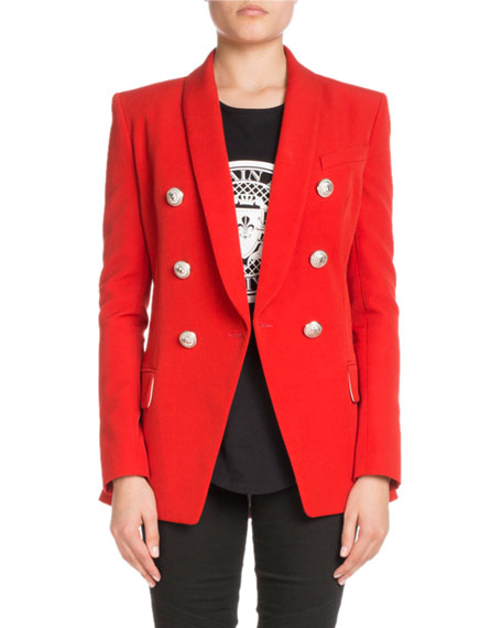Oversized Double-Breasted Wool Blazer, Red