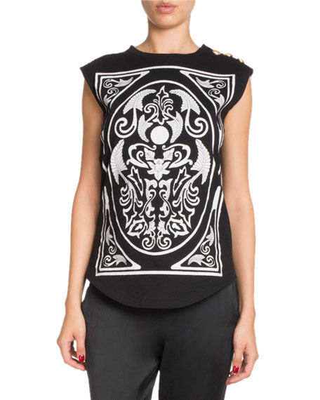Sleeveless Baroque-Print Tank Top with Button-Shoulder Detail
