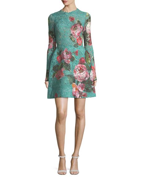 Monique Lhuillier Rose-Print Guipure Lace Fit & Flare