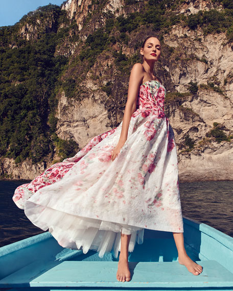 Strapless Rose-Print Cloque Gown