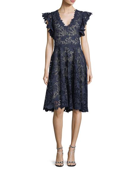 Monique Lhuillier Ruffle-Sleeve Lace Cocktail Dress