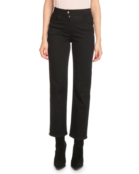 Balmain High-Waist Side-Stripe Straight-Leg Denim Pants and