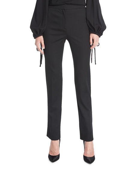 Oscar de la Renta Straight-Leg Stretch-Wool Pants