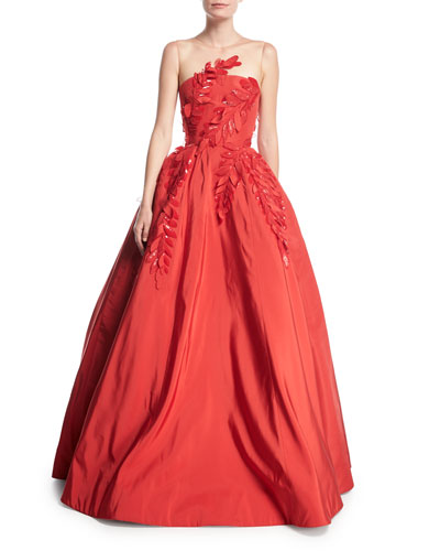 Sleeveless Illusion-Neck Evening Ball Gown w/ Floral Appliques