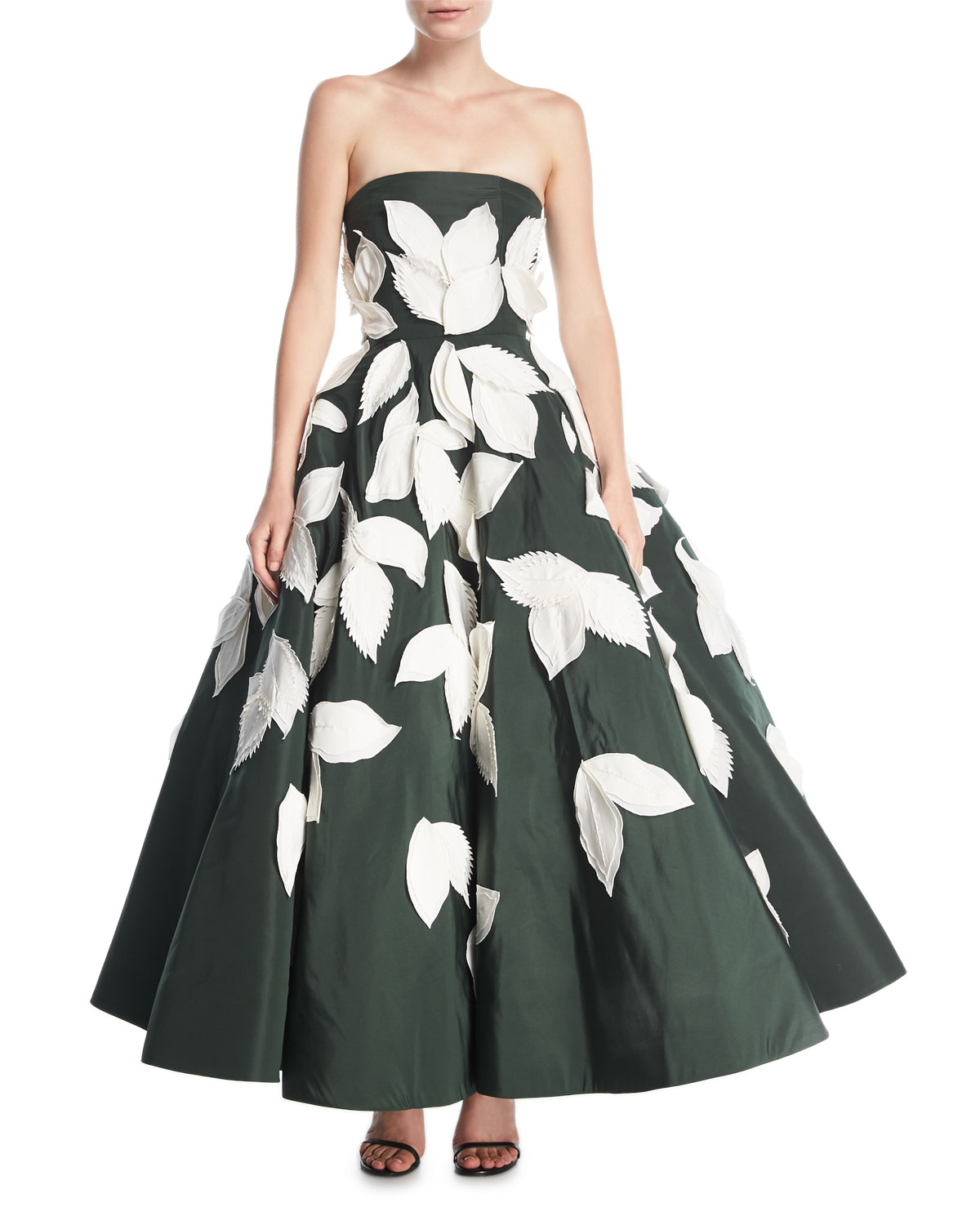 Oscar De La Renta Strapless Full Skirt Evening Gown With Floral