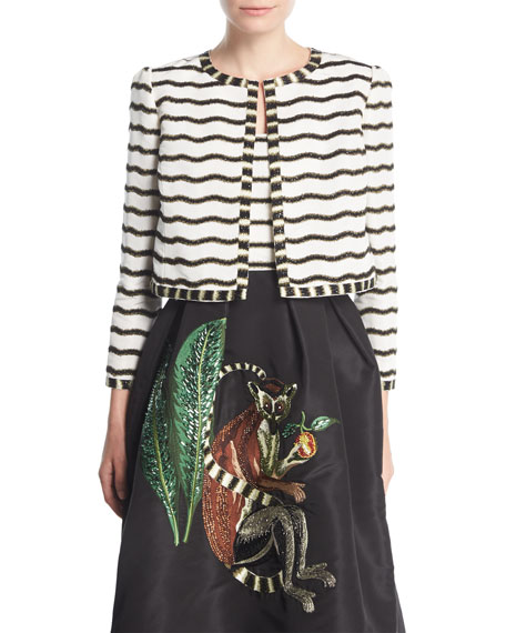 Round-Neck Open-Front Beaded Striped Jacket