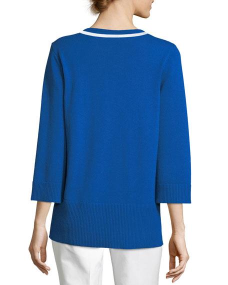Soutache Split-Neck Long-Sleeve Cashmere Pullover Tunic