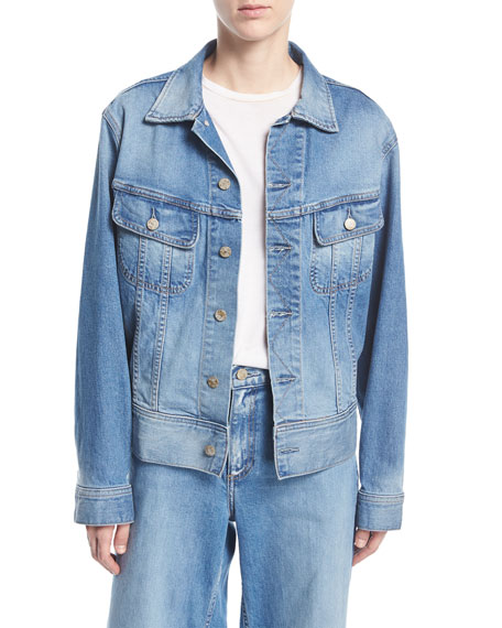 Oscar de la Renta Monkey-Embroidered Button-Front Denim Jacket