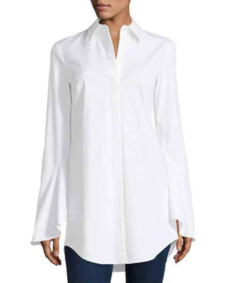 Michael Kors Collection Bell-Sleeve Poplin Blouse