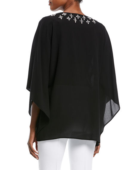 V-Neck Long-Sleeve Silk Georgette Top with Embellishments
