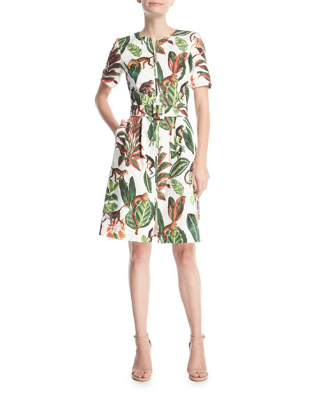 Short-Sleeve Zip-Front Belted Monkey-Leaf Printed Canvas Dress
