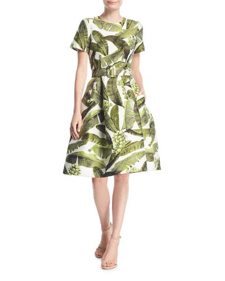 Oscar de la Renta Palm-Print Short-Sleeve Dress