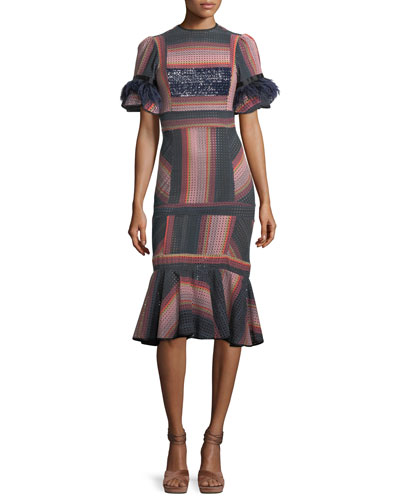 Ghost Ranch Striped Eyelet Midi Dress