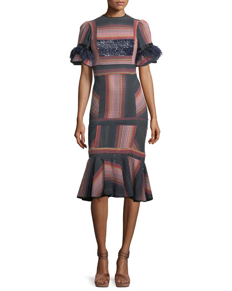 Johanna Ortiz Ghost Ranch Striped Eyelet Midi Dress