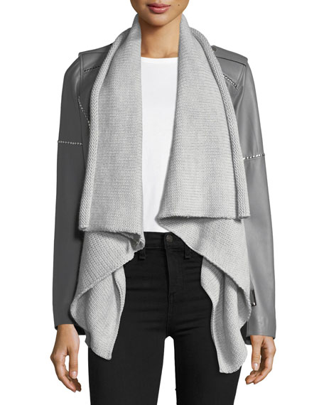 Nour Hammour Hours Leather & Knit Moto Jacket