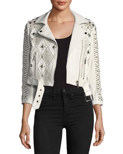 Vendome Saturday Studded Leather Moto Jacket
