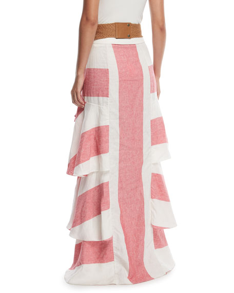 Long Western Stripe Tiered Linen Skirt