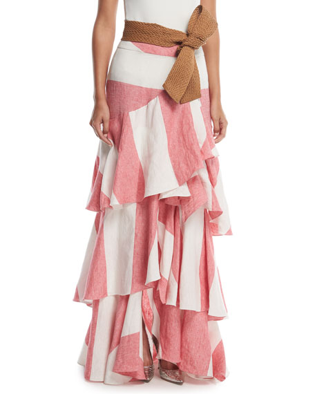 Long Western Stripe Tiered Linen Skirt