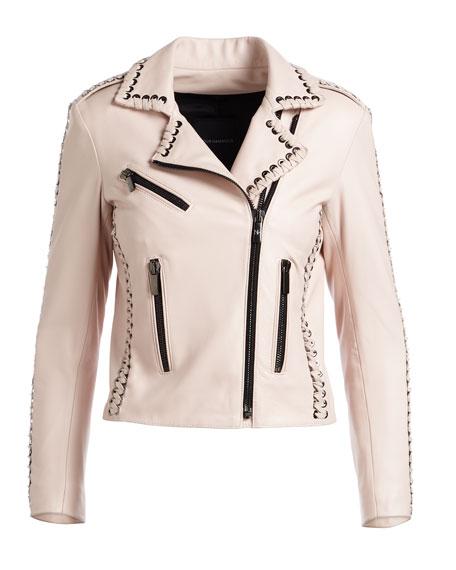 Vynil Whipstitch Leather Moto Jacket