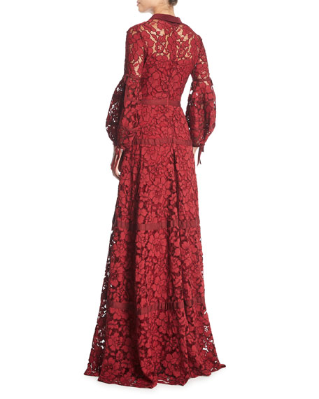 Image 2 of 3: Full-Sleeve Lace Gown