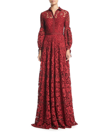 Image 1 of 3: Full-Sleeve Lace Gown