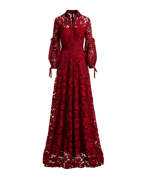 Image 3 of 3: Full-Sleeve Lace Gown