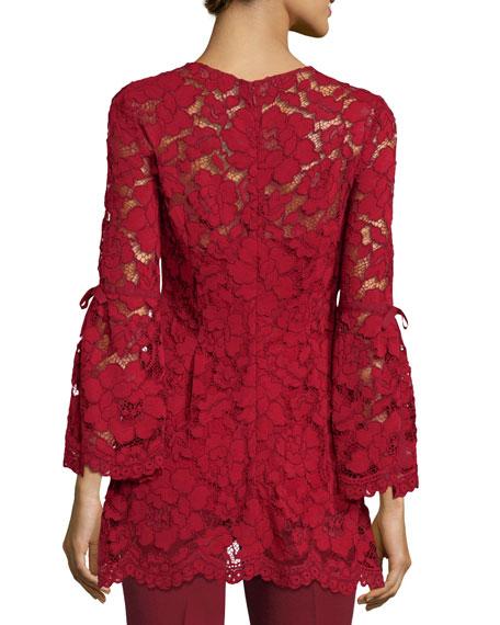 Lela Rose Full-Sleeve Guipure Lace Top