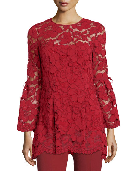 Lela Rose Full-Sleeve Guipure Lace Top