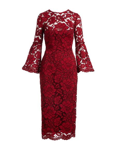 Bell-Sleeve Lace Sheath Dress